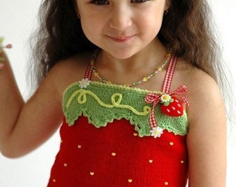 PATTERN Fruity Fun. Hand Knitted Strawberry Top KNIT Pattern with Crochet Details for Sz 2-12 in PDF Instant Download