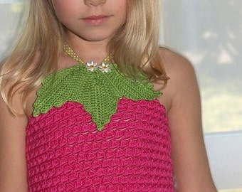 CROCHET PATTERN Fruity Fun 2. Raspberry Top Corset Crochet Pattern/ for Sizes 2-12 Years in PDF