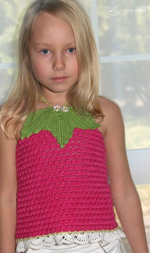 CROCHET PATTERN Fruity Fun 2. Raspberry Top Corset Crochet Pattern/ for Sizes 2-12 Years in PDF