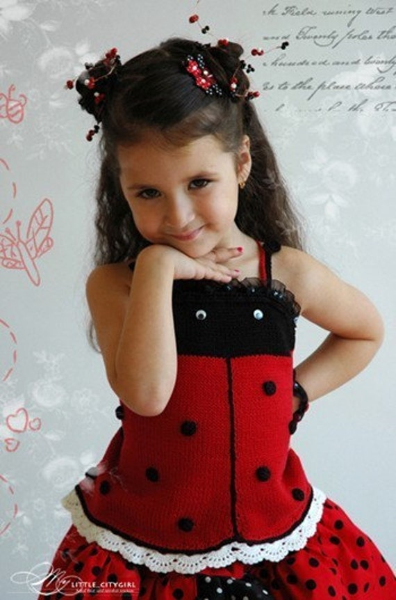 PATTERN Hand Knit Ladybug Halter Top Knit Pattern with Crochet Details in PDF for Sizes 2-12 years