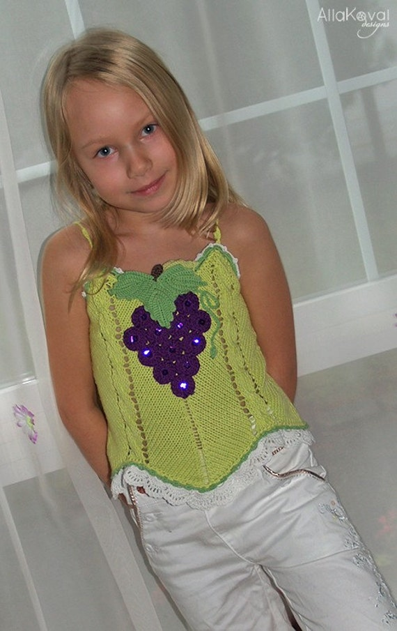 PATTERN Fruity Fun 2. Grape Top Sizes Knit Pattern with Crochet Details for Sizes 2-12 years in PDF eBook