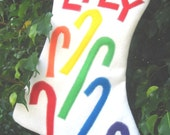 Felt Christmas Stocking RAINBOW Candy Canes Custom Personalized