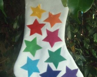 Rainbow Stars Felt Christmas Stocking