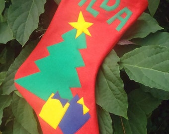 Felt Christmas Stocking Personalized with Name Custom Handmade to order
