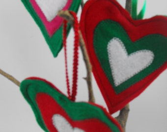 3 Heart Decorations Ornaments Felt Red Green White
