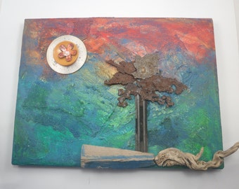Original Art Mixed Media Assemblage FLORIDAY Colorful Painting Found Objects