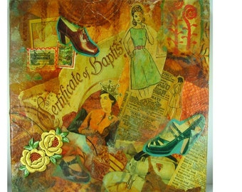 Housewife Baptism Collage with Rusted Papers