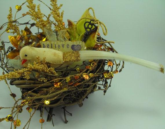 Bird Nest Christmas Decoration Gold Unique Bling Believe