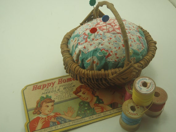 Vintage Quilt Pincushion in Basket Repurposed Upcycled
