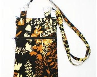 iPhone Cell Phone Case, Smartphone Phone Purse, Small Cross Body Bag, Adjustable Strap, Black Brown & Butter Yellow Leaf
