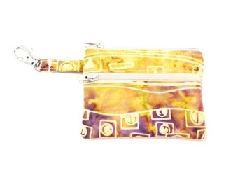 Small Zippered Wallet Change Purse Gadget Case Purple and Yellow Gold Batik