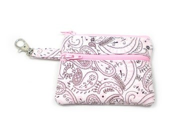 Small Zippered Wallet Change Purse Gadget Case Pink and Black Paisley