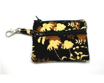 Small Zippered Wallet Change Purse Gadget Case Black Brown and Butter Yellow Leaf Batik
