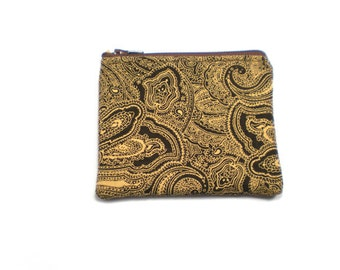 Pocket Zipper Case, Change Purse, Card Case, Coin Purse, Brown and Tan Paisley