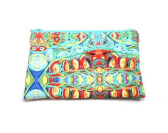 Cosmetic Case, Cord Case, Bridesmaid Gifts, All-Purpose Zipper Case, Abstract Art in Green, Blue, Yellow and Red