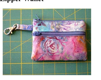 Instant Download PDF Pattern Zipper Wallet Change Purse Gadget Case