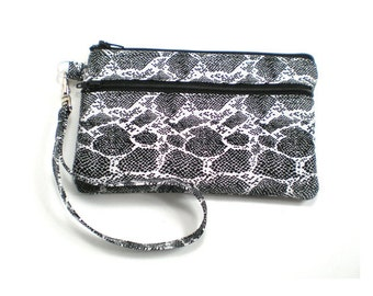 Smartphone iPhone Cell Phone Case, Double Pocket Wristlet, Detachable Strap, Black and White Snake Skin