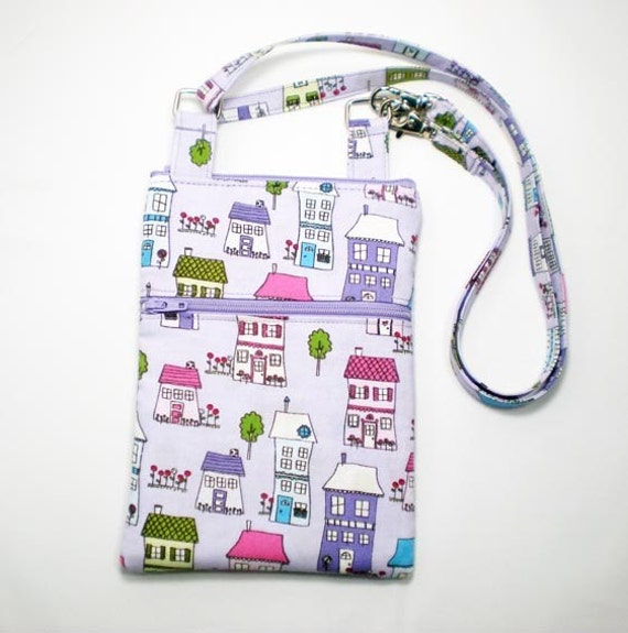iPhone Cell Phone Case, Smartphone Phone Purse, Small Cross Body Bag, Adjustable Strap, Purple with Houses