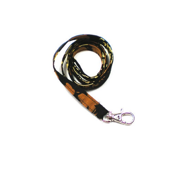 DISCONTINUED - Now Half Off - Lanyard ID Badge Holder Key Leash Black Brown and Butter Yellow Leaf Batik