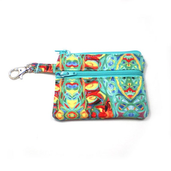 Small Zippered Wallet Change Purse Gadget Case Abstract Art in Green, Blue, Yellow and Red