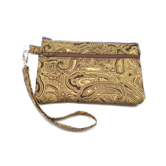 Double Pocket Wristlet with Detachable Strap Brown and Tan Paisley