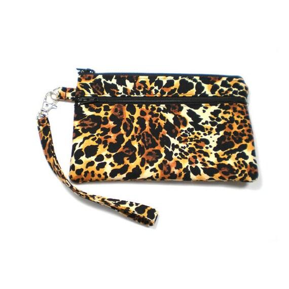 Double Pocket Wristlet with Detachable Strap Big Cat Print Cheetah Leopard