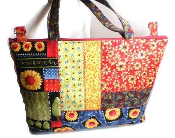 Now Half Off - - - Extra Large ZipTop Quilted Shoulder Bag Purse - Sunflower Patchwork