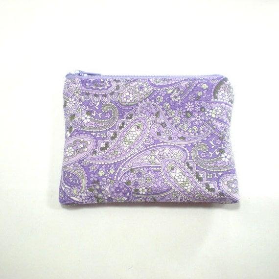 Pocket Zipper Case Change Purse Lavender Paisley