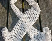 White Cashmere Scarf, Recycled Yarn