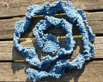 Recycled Blue Scarf Crochet