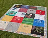Concert Quilt: Variety T-Shirts with Muted Southwestern Vintage Sheet