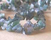 Moss Agate Chip Beads Strand- 36 inches