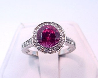 AAA Rhodolite Garnet Raspberry red 14K white gold ring  B007 721