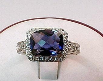AAA Iolite Vivid Blue   2.07 Carats   14K White Gold diamond Ring  056 y