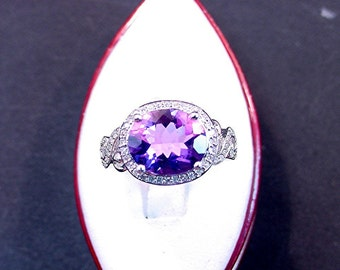 Reserve listing for SMIKU  4.50 carat Natural Amethyst 12x10mm 14K white gold and diamond (.32cts) ring 0820  XXXX