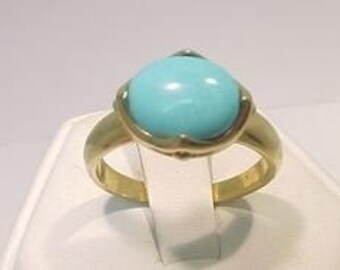 10x8mm 2CT Sleeping Beauty Turquoise 14K gold ring 031a n