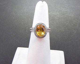 AAA 3.46 Carat 9.5x7.5mm Natural Yellow Sapphire set in 14K White gold diamond bridal set(.50ct) 0978 B108