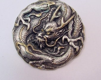 Sterling silver DRAGON Diamond Belt Buckle