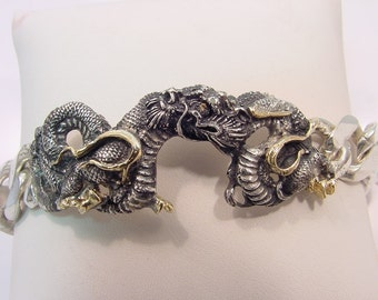 Dragon Bracelet Sterling silver with 18K gold and Yellow diamonds 9 inches 60 grams  Limited addition number 2 of 50