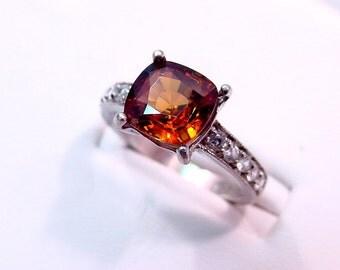 AAAA Golden Brown Zircon   4.25 Carats   14K White gold diamond (.30ct) Ring 0132