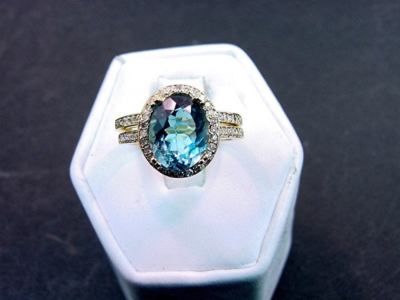 AAA Natural London Blue Topaz   10x8mm  3.20 Carats   14K Yellow gold diamond bridal set(.45ct) 0741 B108 MMM