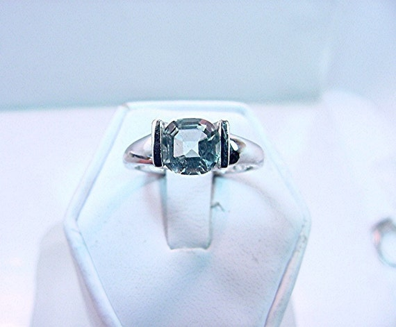 7x7mm Cushion/Asscher cut Natural Aquamarine 1.32 carats set in 14K white gold ring 0427