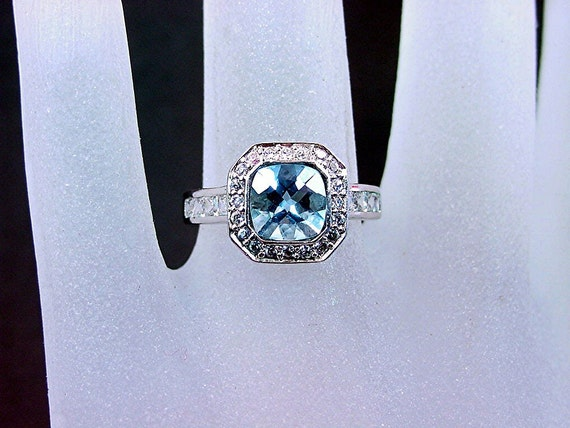 AAAA Santa Maria Aquamarine 1.17cts cushion cut 7x7mm set in 14K white gold diamond ring .60cts  C77  0765