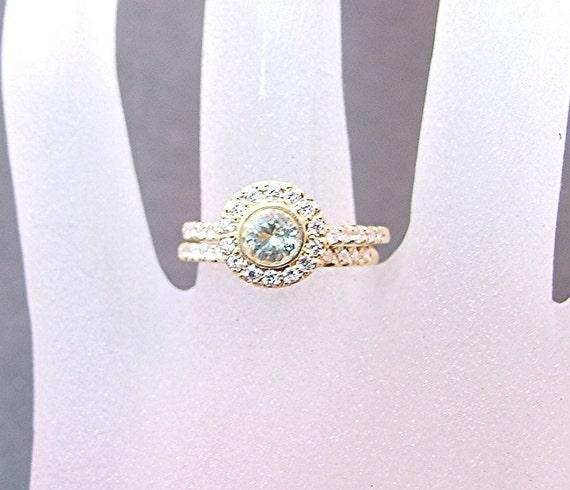 4.85mm .50 Carat Natural Unheated Light Yellow Sapphire 14K Yellow gold diamond bridal set 0864