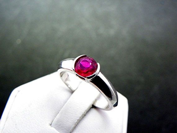 6mm .90ct Round Natural Red Ruby ring 14K White gold ring