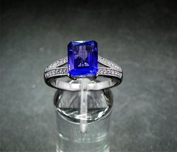 Natural AAA Tanazanite 3.78 Carat set in 14K white gold diamond (.30ct) ring 0801