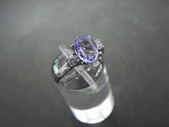 AAAA 8x6mm 1.42 ct Ceylon Blue Sapphire with .14 cts of Diamonds 14K white gold ring C863 1117