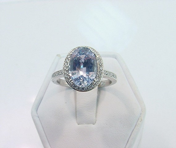 3.50 Carat 11.4 x 7.86mm Natural Ceylon Blue Sapphire set in 14K white gold ring with diamonds (.33ct) Ring 0418