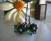 flower baskets. vintage upcycle, rhinestones, jade, czech glass. FREE SHIPPING