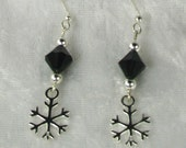 Black and Sterling  Silver Snowflake Earrings